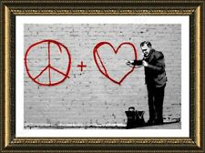 FRAMED Poster Peace Love Doctor Banksy Framed Decor Framed Print Framed Art