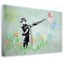 READY TO HANG CANVAS Boy Crayon Shooter Banksy Framed Print For Living Room