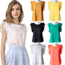 Womens Summer Loose Casual Chiffon Sleeveless Vest Shirt Top Blouse Ladies Tops