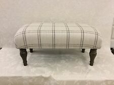 Footstool upholstered in Laura Ashley Corby check amethyst