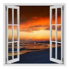 READY TO HANG CANVAS Florida Oceans Sunset Fake 3D Window Framed Paints Giclee