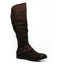 NEW WOMENS LADIES LOW FLAT HEEL ZIP KNEE HIGH CALF RIDING BOOTS SHOES SIZE 3-8