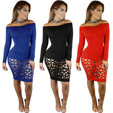 Sexy Women Off Shoulder Long Sleeve Hollow Out Bodycon Bandage Club Party Dress