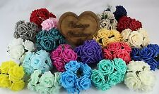 12 Bunches Of Colourfast Large 9cm Foam Rose Bunches 72 Foam Flowers Wedding
