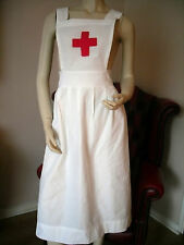 "WW1 WW2  COTTON ADULT NURSE APRON ""RED CROSS INSPIRED"" - RE-ENACTING WAR TIME"