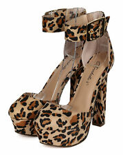 New Women Breckelles Ginny-01 Leopard Color Block Chunky Heel Platform Pump
