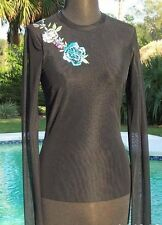 Cache SHEER ILLUSION MESH BLING EMBROIDERY EMBELLISHED Top New Size S LINED NWT