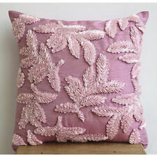 Gold Damask Pink Accent Cushion, 55x55 cm Silk Throw Cushion Cover - Leafy Pink