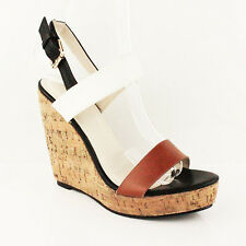 WOMENS LADIES STRAPPY PLATFORM HIGH CORK WEDGE HEELS SANDALS SHOES SIZE 3-8