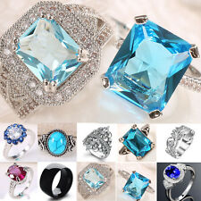 Women Jewelry 925 Silver Topaz Gemstone Man Wedding Engagement Ring Size6-13