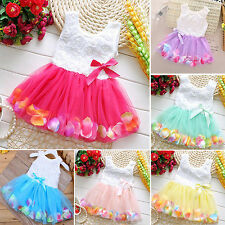 Baby Kids Girls Princess Party Tutu Dress Seeveless Lace Bow Flower Tulle Skirt
