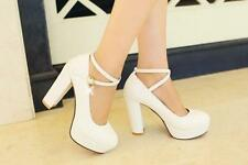 Women's Round Toe Ankle Strap Strappy Platform Chunky High Heels Wedding Pumps