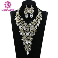 Champagne Gold Necklace and Earrings Set Rhinestones Crystal Jewelry Sets