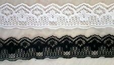 50 OR 100 YARDS of 3/4 BLACK OR WHITE FLAT SCALLOP LACE   NICE FOR DOLL MAKING