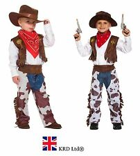 Kids COWBOY FANCY DRESS COSTUME Boys Children Outfit Birthday Party Wild West UK