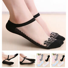 1 Pair Women Lace Solid Sexy Short Invisble Ankle Transparent Fashion Boat Socks