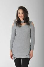 NEW LADIES DISTRESSED CHOCKER NECK CHUNKY KNITTED JUMPER DRESS