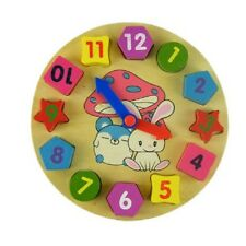 Boys Girls Kids Early Learning Wooden Geometry Clock & Number Blocks Toy Puzzle