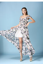 Sexy Women Summer Casual Floral Chiffon Prom  Party Vacation Beach Dress A+++