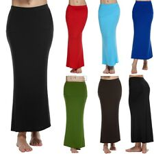 ACEVOG Women Ladies Medium Elastic Waist Stretch Bodycon Pencil Skirt Maxi B5UT