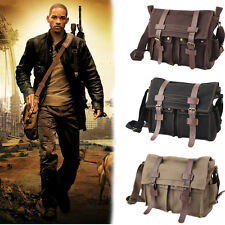 Vintage Men's Canvas Leather Satchel Army Shoulder Messenger Laptop School Bag