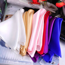 New Men Silk Pocket Square Handkerchief Plain Solid Color for Wedding Party Gift