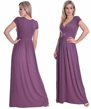 Summer Maxi Dress Day Party Cap Sleeve Empire Maternity Nude Grape MontyQ