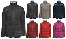 New Womens Quilted Belted Padded Bubble Four Pockets Gold Zip Jacket Coat Top040