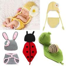 Baby Photo Props Infant Boy Girl Cute Crochet Beanie Set Outfit Size 0-3 Months