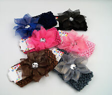 Baby Large Ruffle Flower Lace Hairband Soft Elastic Headband Hair Band