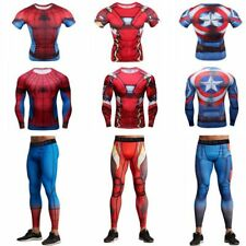Mens Compression Marvel Superhero T-shirts Cosplay Long Pants Gym Cycling Jersey
