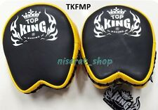 TOP KING FOCUS MITTS TKFMP BLACK YELLOW GENUINE LEATHER MUAY THAI MMA K1TRAINING