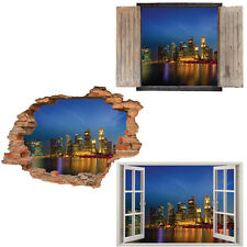 Window Wall Sticker Decal Vinyl 3D Singapore Skyline Cityscape home art room dec