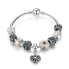 European Silver Bracelet&Bangle With Pink Love Beads Charms Handmade Jewelry