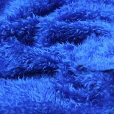 ROYAL BLUE CURLY Teddy Faux Fur Fabric Material 60 150cm wide sold by the metre,