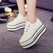 Women's Canvas Shoes High Top Lace Up Fashion Sneakers Platform Creeper New Size