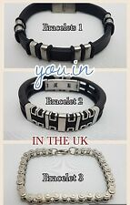 MEN BLACK SILVER RUBBER STAINLESS STEEL WRISTBAND CLASP CUFF BANGLE BRACELET UK
