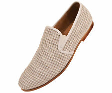 Amali Mens Taupe & White Houndstooth Knit Dress Casual Slip On Loafer : Trap-008