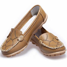 Womens Loafers Casual Oxfords Leather Shoes Moccasins Lazy Peas Driving Flats