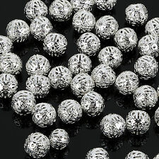 DIY beads 4/ 6/8/10mm SILVER PLATED FILIGREE Spacer Metal Beads Jewelry