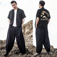 Men Navy Blue Loose Elasticated Hem Harem Drop Crotch Low Rise Pants Trousers