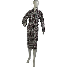 Womens 100% Combed Cotton Tartan Checked Dressing Gown Ladies Wrap Robe Black