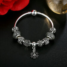 DIY European Silver Clear Crystal & Glass Bead Charm Bracelet with Flower Dangle