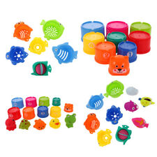 Baby Stacking Bathing Toy Figures Numbers Animals Folding Stacking Cups Toys