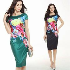 Women Floral Short Sleeve Stretchy Slim Bodycon Evening Party Pencil Midi Dress