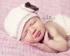 Hand Knitted Crochet Baby Girl Hat Flower Pearl Photo Prop Soft Prem/Newborn 12M