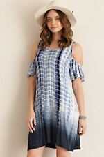 NEW Entro RAYON Off Shoulder Alligator Tie Dye  Dress, S M L