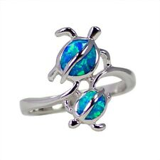 HAWAIIAN HONU TURTLE MOTHER AND CHILD SIMULATED BLUE OPAL RING