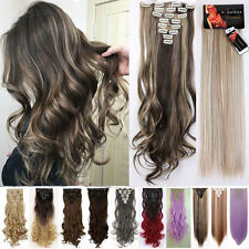 "17""-26"" 100% Real AS Human Hair Full Head Clip in Remy Hair Extensions Synthetic"