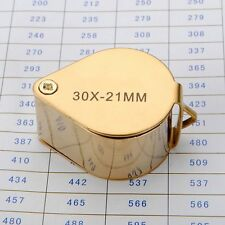 Hot 30X21mm Golden Jewelers Eye Loupe Magnifier Magnifying glass Lens With Case